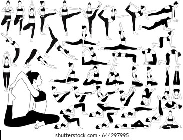 Set of yoga icons. Vector silhouettes of woman in costume doing yoga exercises. Slim flexible girl stretching her body in different yoga poses to make in strong and healthy.