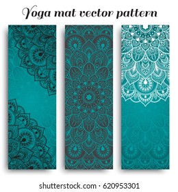 Set of yoga mat vector pattern