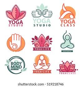 Set of yoga and meditation  logo symbols. Vector illustration. Isolated on white.