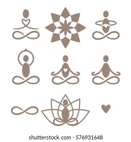 A set of yoga and meditation symbols and icons in vector