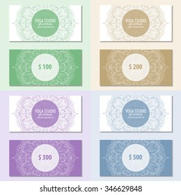Set of yoga ornamental gift certificate with mandala. Abstract background. Concept for yoga centers, beauty salon, spa, fashion, flyer, banner design.