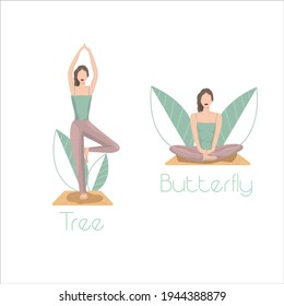 Set of yoga poses. Asana vector illustration. Sport and fitness drawing