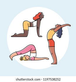 Set of yoga poses, flat design colorful vector illustration.