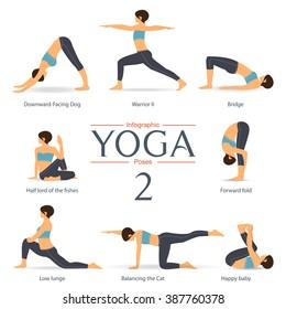 Set of yoga poses in flat design . Yoga infographics. Vector Illustration.