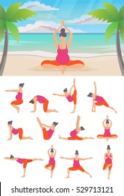 Set of  Yoga poses for Pregnant women,Outdoors, by the sea shore. Prenatal exercise. Vector illustration.