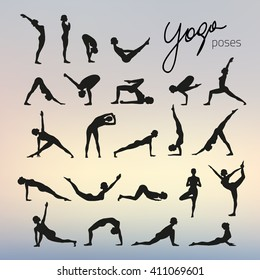 Set of yoga poses silhouettes on blurred background