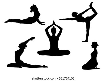 Set of Yoga Poses Silhouettes - Vector Illustration