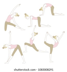 Set of yoga poses such as Cow, Cat, Lord of the Dance, Gate, Extended Triangle and Warrior Pose isolated on white background