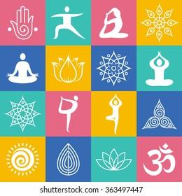 Set of yoga poses, symbols and design elements.