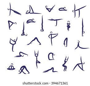 Set Of Yoga Positions Blue Vector Silhouettes Illustration