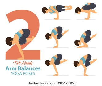 A set of yoga postures female figures for Infographic 6 Yoga poses for arm balances hand standing . Woman figures exercise in blue sportswear and black yoga pant. Vector Illustration.