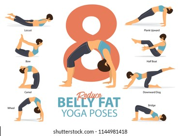 A set of yoga postures female figures for Infographic 8 Yoga poses for reduce belly fat in flat design. Woman figures exercise in blue sportswear and black yoga pant. Vector Illustration.