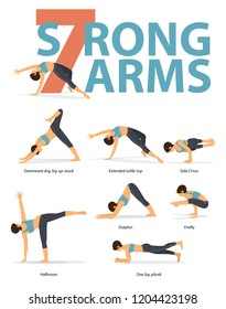 Set of yoga postures female figures for Infographic 7 Yoga poses for strong arms in flat design. Woman figures exercise in blue sportswear and black yoga pants. Vector Illustration.