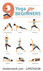 Set of yoga postures female figures Infographic 9 Yoga poses for Beginners in flat design. Woman figures exercise in blue sportswear and black yoga pants. Vector Illustration.