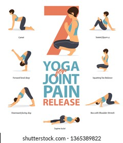 Set of yoga postures female figures Infographic . 7 Yoga poses for Joint Pain Release flat design. Woman figures exercise in blue sportswear and black yoga pants. Vector Illustration.