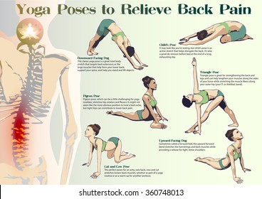 A set of yoga postures female figures: sequence of physical exercises in the form of creative, visual poster to Relive Back Pain.