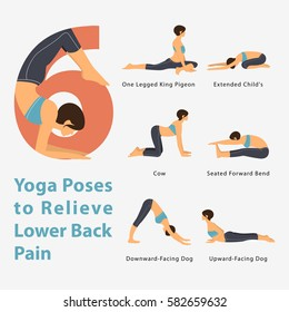 A set of yoga postures female figures for Infographic 6 Yoga poses to relieve lower back pain in flat design. Vector Illustration.