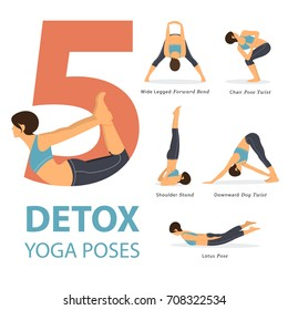 A set of yoga postures female figures for Infographic 5 Yoga poses for good healthy in flat design. Vector Illustration.