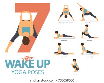 A set of yoga postures female figures for Infographic. 7 Yoga poses for exercise after wake up in flat design. Vector Illustration.