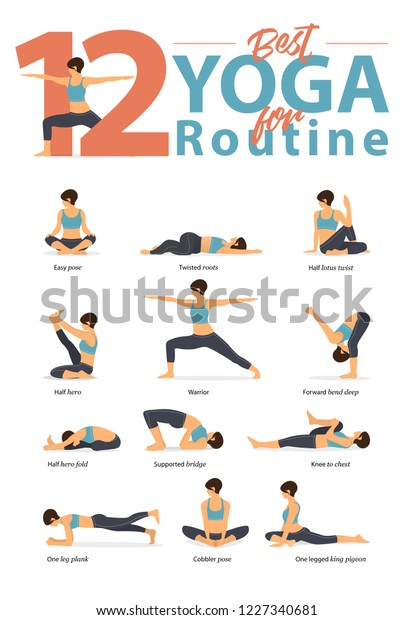 Set Yoga Postures Female Figures Infographic Stock Vector Royalty Free 1227340681