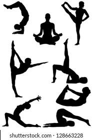 Set of Yoga Silhouette . Vector illustration