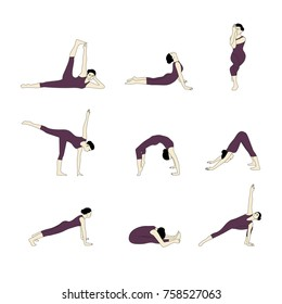 Set of yoga silhouette. Woman doing yoga exercises collection. Yoga postures silhouette vector illustration.