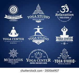 Set of yoga studio and meditation class logo, icons and design elements.