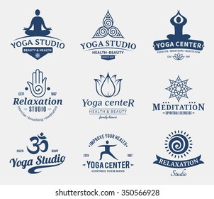 Set of yoga studio and meditation class logo