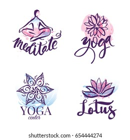 Set of yoga studio and meditation class logo, icons and design elements. Health care, sport and fitness design elements.