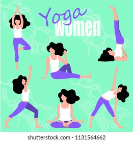 set of yoga for women, young girl doing exercises, flat design, vector illustration