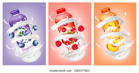 Set of yogurts with berries and fruit falling into milk and juice splashes. Vector.