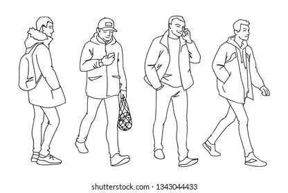 Set of young and adult men standing and walking. Monochrome vector illustration of men in different poses in simple line art style. Hand drawn sketch. Black lines isolated on white background.