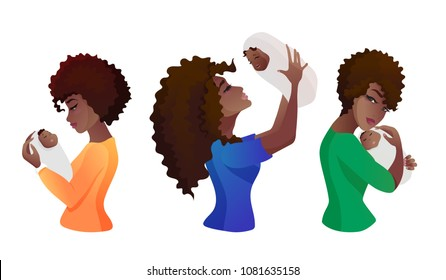 Set of young african american mothers with baby in the hands. Three poses - she is hugging, throwing up, looking on the baby. Character design for Mother s day. Vector illustration isolated on white