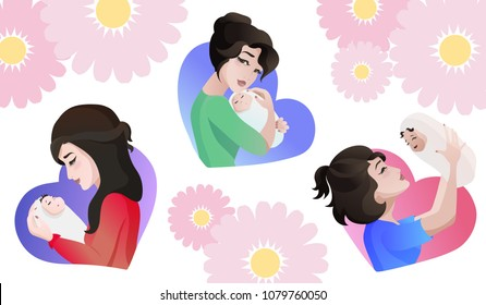 Set of young asian mothers with baby in the hands. Three poses in shape of heart background - she is hugging, throwing up, looking on the baby. Character design for Mother s day greeting cards. Vector