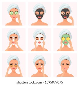 Set of young attractive well-groomed women using cucumber soaked eye mask, clay mask, under eye patches, normal, dry or problem skin caring mask, day and night cream isolated on white background.