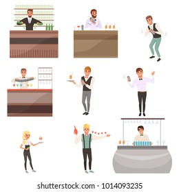 Set of young bartenders standing at the bar counter surrounded with bottles and glasses. Barmen mixing, pouring and serving alcohol drinks. Flat cartoon vector