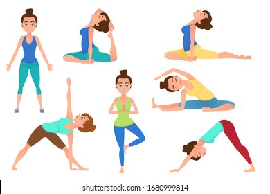 Set of young beautiful woman character meditation while sitting yoga position. Fitness healthy lifestyle. Vector set of yoga poses. Vector illustration.