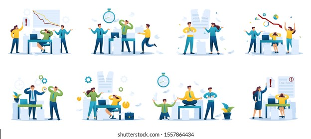Set Young business characters, businessmen, in Stressful situation. Flat 2D characters. For Concept for web design.