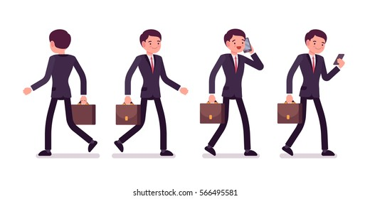 Set of young businessmen in formal wear, walking poses, talking on phone, holding bag, full length, front and rear view isolated against white background, successful manager on his way to the office