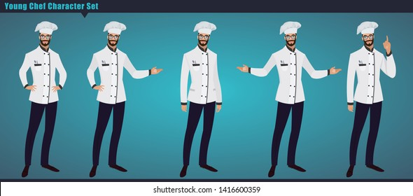 Set of a young Chef working character vector design, with hand poses, Presentation in various action. Professional chef set ,Vector illustration cartoon character.