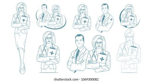 Set of Young doctor with stethoscope. Doctor logo. Medical concept.