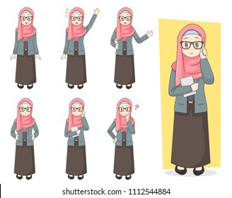 Set of Young girl businesswoman in modern hijab fashion cartoon character design with different poses, isolated against white background.