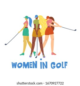 Set with young girl hitting ball with golf club. Vector flat hand drawn illustration. Female golfer plays golf. Woman in sport. T-shirt print design. Cartoon characters.