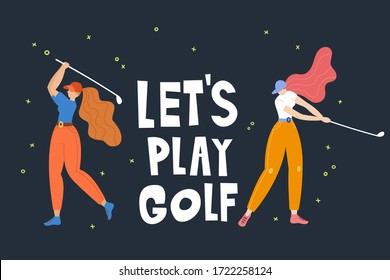 Set with young girl hitting ball with golf club. Vector flat hand drawn illustration. Female golfer plays golf. Woman in sport. T-shirt print design. Let's play. Cartoon characters.