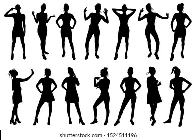 Set of young girl vector silhouettes in various poses.