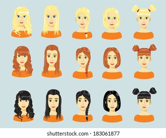 set of young girls with various hair style