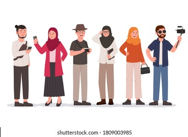 Set of Young Group Hipster Man and Hijab Woman Flat Illustration