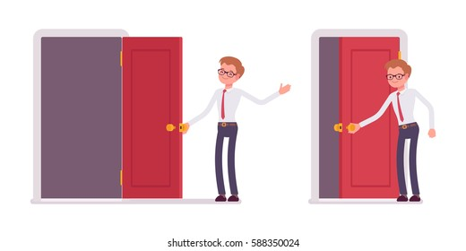 Set of young happy male clerk in smart formal wear opening and closing red door  sc 1 st  Shutterstock : close door - pezcame.com