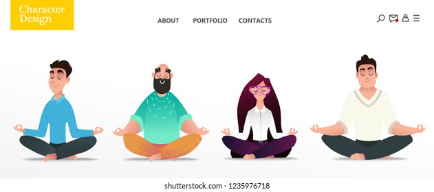 Set of young happy office characters relaxing by yoga. Isolated men and women in the lotus position. Home main page of the studio of yoga. Commercial illustration on a white background