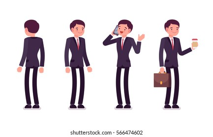 Set of young happy smiling businessmen in formal wear, standing poses, talking on phone, holding bag and coffee, full length, front and rear view isolated against white background, successful manager